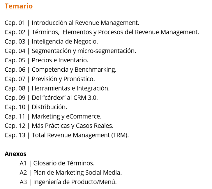 Temario Curso Revenue Management